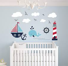 Amazon Com Nautical Theme Wall Decal Nautical Decor Nursery Wall Decals Whale And Sailboat Vinyl Baby Nursery Decor Sticker Baby