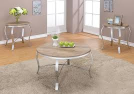 3 pc round coffee table end side table