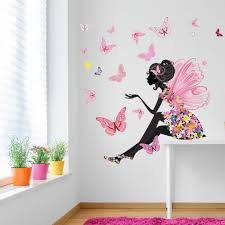 Flower Fairy Butterfly Wall Sticker Scene Wall Stickers Bedroom Girl Bedroom Walls Girls Wall Decals