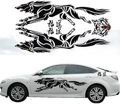 Amazon Com Katoot Personalized 3d Wolf Totem Decals Car Stickers Full Body Car Styling Vinyl Decal Sticker For Cars Acessories Decoration Black L Home Kitchen