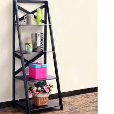 4 Tier Ladder Shelf Bookshelf Bookcase Storage Display Leaning Home Office Decor Groupon
