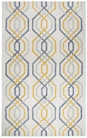 geometric line pattern wool runner rug
