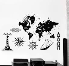 Amazon Com Wallstickers4ever Large Vinyl Wall Decal World Map Atlas Continents Africa Europe Noth America Decor Z4480 Yellow Home Kitchen