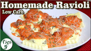 low carb sausage and spinach ravioli