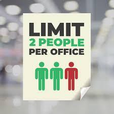 Limit 2 People Per Office Window Decal Plum Grove