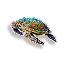 4 Inch Mini Sea Turtle Sticker Colorful Sea Creature Beach Etsy