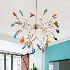 Novelty Colorful Chandelier 12 48 60w 4 16 20 Agate Firefly Led Chandeliers In Gold Finish For Kids Room Bedroom Restaurant Colorful Chandelier Kids Room Chandelier Led Chandelier