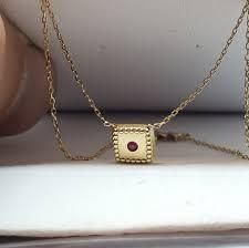 14k gold ruby box pendant necklace