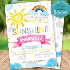 Editable Sunshine Rainbow Girl Primera Invitacion De Cumpleanos