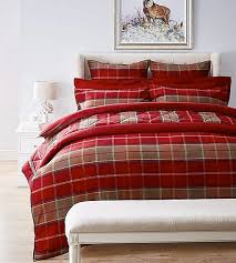 brushed cotton red duvet cover and