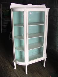 painted oak curved glass china cabinet