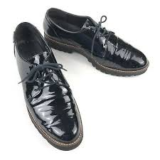 black patent leather platform oxford