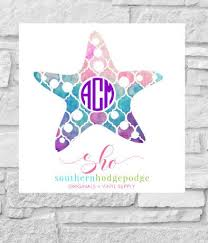Starfish Vinyl Decal With Monogram Car Decal Vinyl Decal Lilly Starfish Decal Starfish Monogram Decal Star Car Monogram Decal Vinyl Decals Monogram Decal