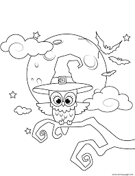Owl In A Witch Hat Halloween Coloring Pages Printable
