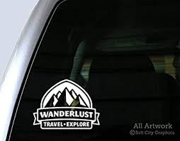 Amazon Com Wanderlust Travel Explore Decal Badge With Mountains Car Window Decal 5 Inches Wide White Automotive