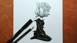 تعليم الرسم رسم بنت وردة رسوم تعبيرية بالرصاص خطوة بخطوة للمبتدئين