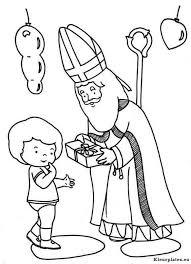 Sinterklaas Geeft Kind Een Cadeau Kleurplaat