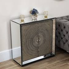 gold mirrored 2 drawer cabinet abreo