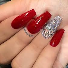 coffin acrylic nails with rhinestones