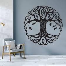 Tree Wall Sticker Removable Tree Of Life Wall Decal Mandala Circle Trees Vinyl Wall Mural Home Decoration Yoga Wall Art Wish