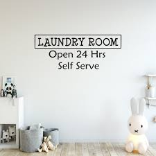 Laundry Room Open 24 Hours Decal Wall Quotes Signs Family Home Decor Wash Room Wall Decal