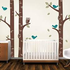 Amazon Com Simple Shapes Birch Tree Wall Decal With Owl And Birds Scheme B Home Kitchen