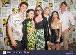 San Diego, Ca. 18th July, 2019. Adam DiMarco, Devery Jacobs, Katharine  Isabelle, Sarah Grey, Louriza Tronco, Thomas Elms during Netflix's The  Order press room during Comic Con 2019 on Thursday July 18th