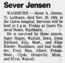 Avis Olson Bjelland sister in law's brother Funeral - Newspapers.com