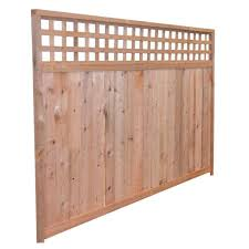 Mendocino Forest Products 6 Ft High X 8 Ft Wide Redwood Construction Heart Horizontal Lattice Top Fence Panel 17896 The Home Depot