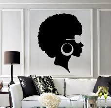 Vinyl Wall Decal Afro Hairstyle Black Lady Beauty Salon Stickers Mural Unique Gift Ig3803 Afrocentric Decor Vinyl Wall Decals Hair Salon Decor