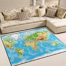 Amazon Com Alaza U Life World Map Large Area Rug Runner Floor Mat Carpet For Kids Classroom Entrance Way Doorway Living Room Bedroom 63 X 48 80 X 58 Inch 5 3 X