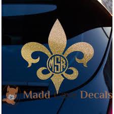 Glitter Fleur De Lis Monogram Vinyl Decal Yeti Tumbler New Orleans
