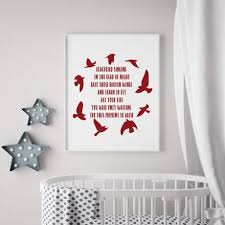 Beatles Blackbird Song Lyrics Vinyl Wall Decal With Bird Silhouettes Customvinyldecor Com