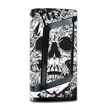 Skin Decal For Smok Alien 220w Tc Vape Mod With Grip Guard Crazy Lineart Skull Design Itsaskin Com
