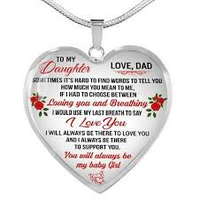 to my daughter necklace heart pendant