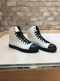 mens white black leather high tops