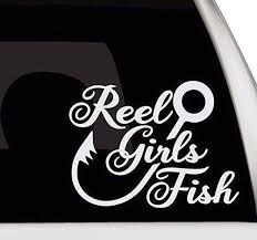 Amazon Com Girls Fishing Car Sticker Reel Girls Fish Vinyl Decal Reel Girls Fish Bumper Sticker Fishing Decal Made In Usa Computers Accessories