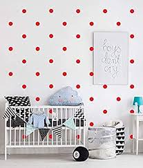 Amazon Com Red Dots Wall Decal Stickers 1 Inch 240pcs Easy To Peel Easy To Stick Safe On Walls And Paint Vinyl Polka Dot Decor By Bugybagy Baby