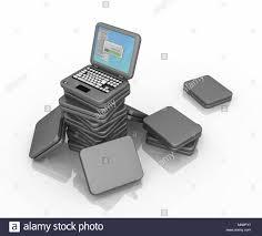 pile of tiny cartoon laptops 3d