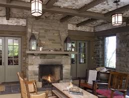 screen porch fireplace screened rustic