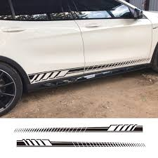 2 Pcs Car Styling Car Sticker Side Skirt Decal Sticker Body Garland For Mercedes Benz W205 Coupe C Class C63 Amg Stickers Car Stickers Aliexpress