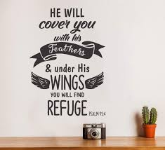 Amazon Com Wallency Bible Verse Wall Decal Psalm 91 4 Removable Vinyl Sticker Lettering Handmade