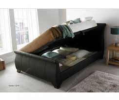 5ft kingsize brown leather ottoman bed