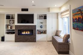 gas fireplace and storage bench