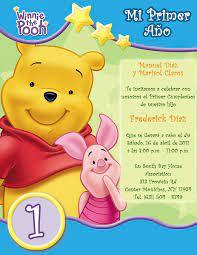 Winnie 1 A C3 B1o Png 1236 1600 Tarjetas De Invitacion Infantiles