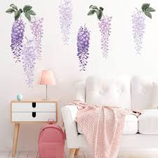 Amazon Com Decalmile Purple Wisteria Flower Wall Decals Hanging Vine Floral Leaves Wall Stickers Girls Bedroom Living Room Sofa Tv Background Wall Art Decor Furniture Decor