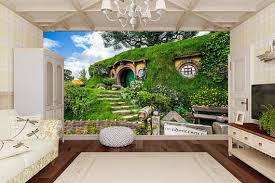 Hobbit House Home Mural Nature Wall Mural For Living Room Fantasy Nature Wall Decal Romantic Wall Mural For Home Decor Sku 20013 Wall Murals Large Wall Murals Nature Wall