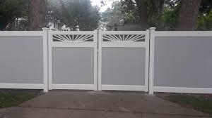 6 Grey White Two Tone Fence Sunburst Gate Pvc Fence White Vinyl Fence Vinyl Fence