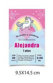 Invitacion De Unicornio Para Cumpleanos O Bautizo 115 00 En