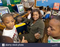 Detroit, Michigan - First grade teacher Ivy Bailey at MacDowell Stock Photo  - Alamy